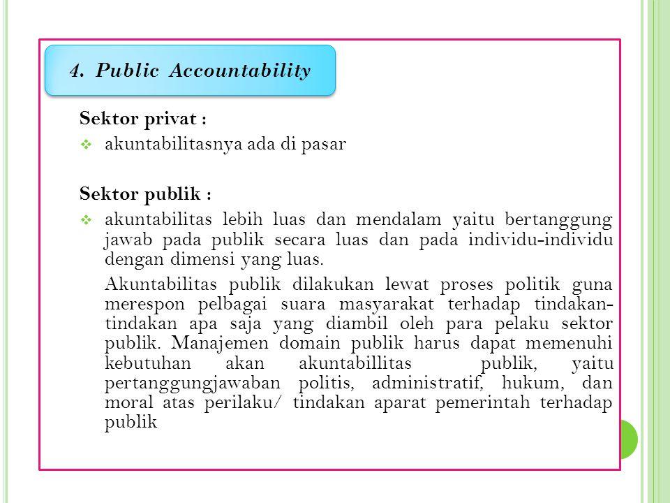 Sektor privat :  akuntabilitasnya ada di pasar Sektor publik :  akuntabilitas lebih luas dan mendalam yaitu bertanggung jawab pada publik secara luas dan pada individu-individu dengan dimensi yang luas.