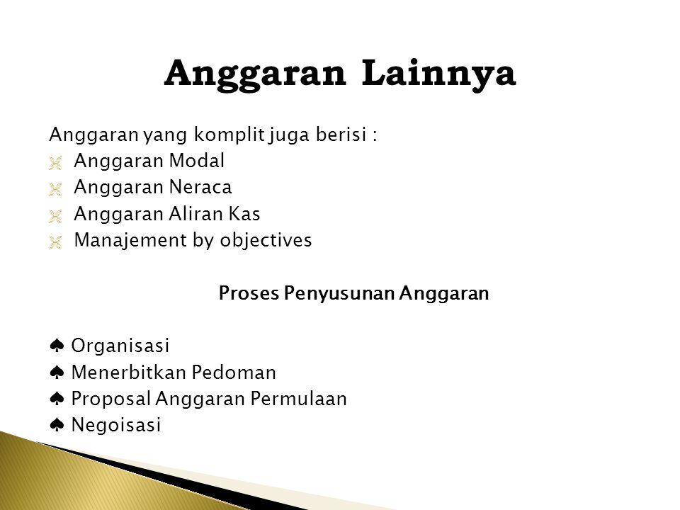 Anggaran Lainnya Anggaran yang komplit juga berisi :  Anggaran Modal  Anggaran Neraca  Anggaran Aliran Kas  Manajement by objectives Proses Penyus