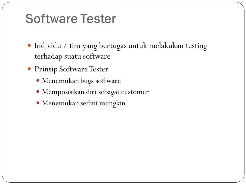 Software Tester ST dikategorikan baik jika ST harus menguasai knowledge seperti programmer Pendekatan yang disiplin dan metodologis memerlukan kerja keras dan dedikasi setara programmer Tidak semua perusahaan memandang ST sebagai profesi yang penting.