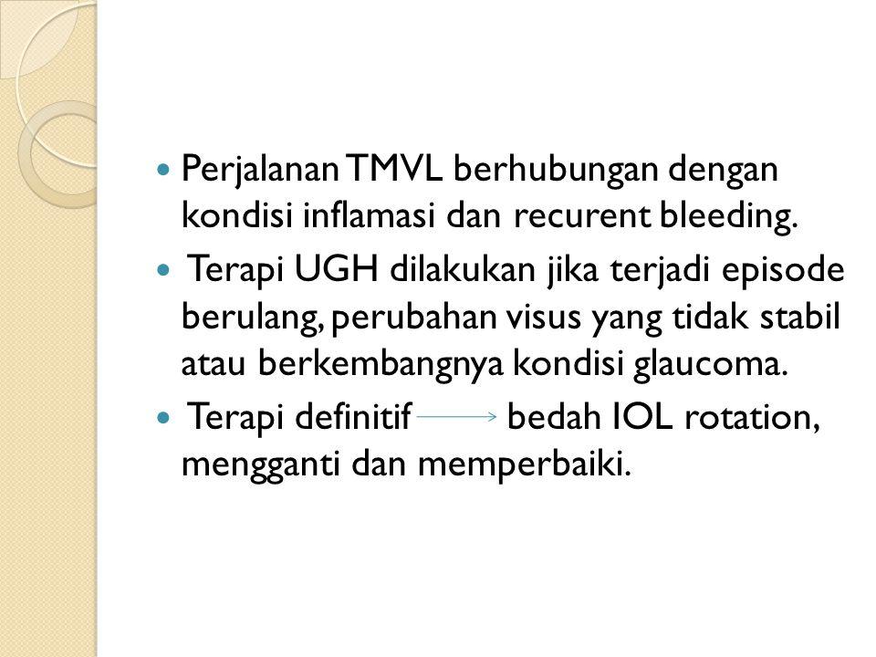Perjalanan TMVL berhubungan dengan kondisi inflamasi dan recurent bleeding. Terapi UGH dilakukan jika terjadi episode berulang, perubahan visus yang t