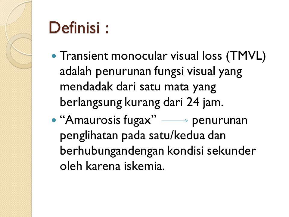 "Definisi : Transient monocular visual loss (TMVL) adalah penurunan fungsi visual yang mendadak dari satu mata yang berlangsung kurang dari 24 jam. ""Am"