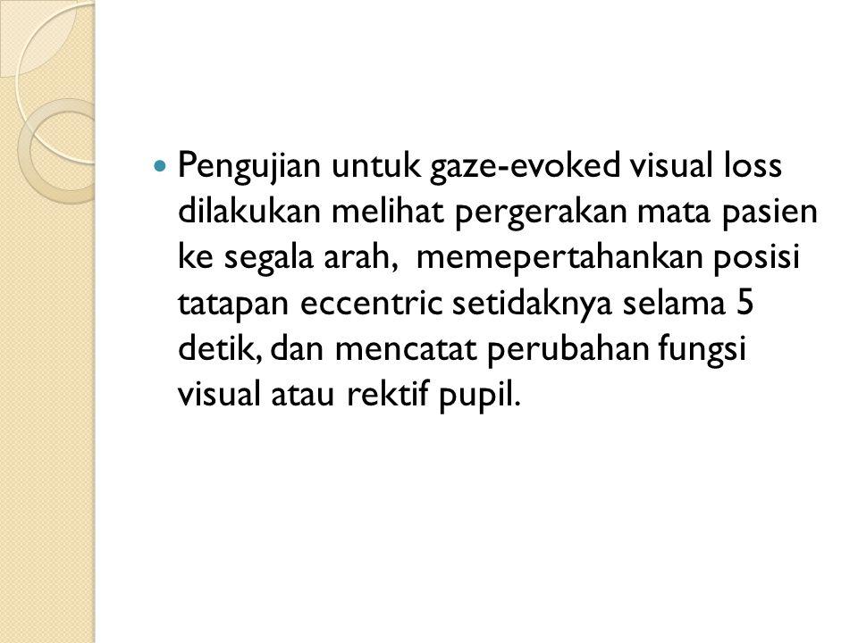 Pengujian untuk gaze-evoked visual loss dilakukan melihat pergerakan mata pasien ke segala arah, memepertahankan posisi tatapan eccentric setidaknya s