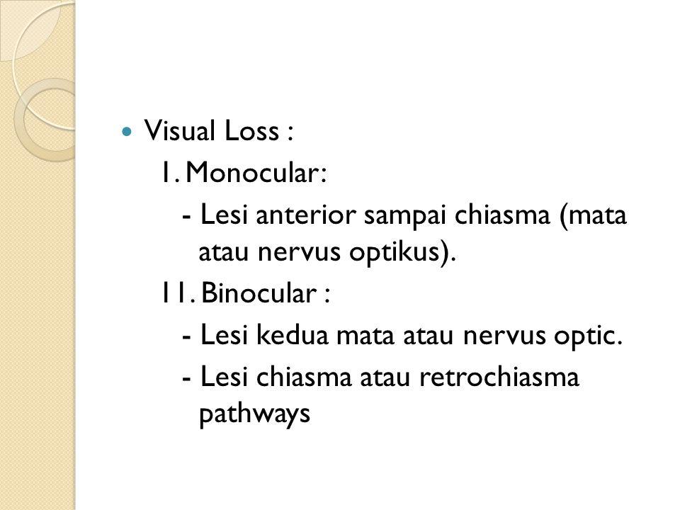 Visual Loss : 1. Monocular: - Lesi anterior sampai chiasma (mata atau nervus optikus). 11. Binocular : - Lesi kedua mata atau nervus optic. - Lesi chi