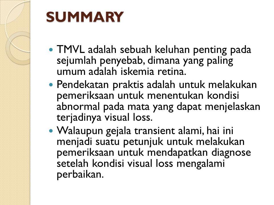 SUMMARY TMVL adalah sebuah keluhan penting pada sejumlah penyebab, dimana yang paling umum adalah iskemia retina. Pendekatan praktis adalah untuk mela