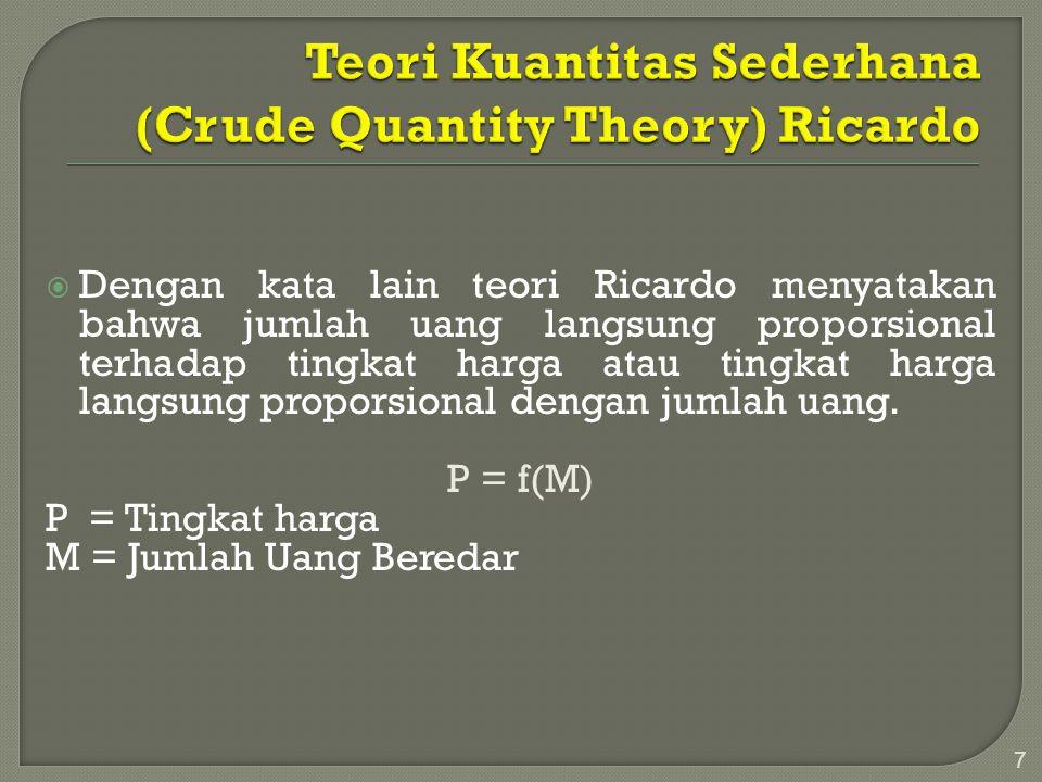  Dengan kata lain teori Ricardo menyatakan bahwa jumlah uang langsung proporsional terhadap tingkat harga atau tingkat harga langsung proporsional de