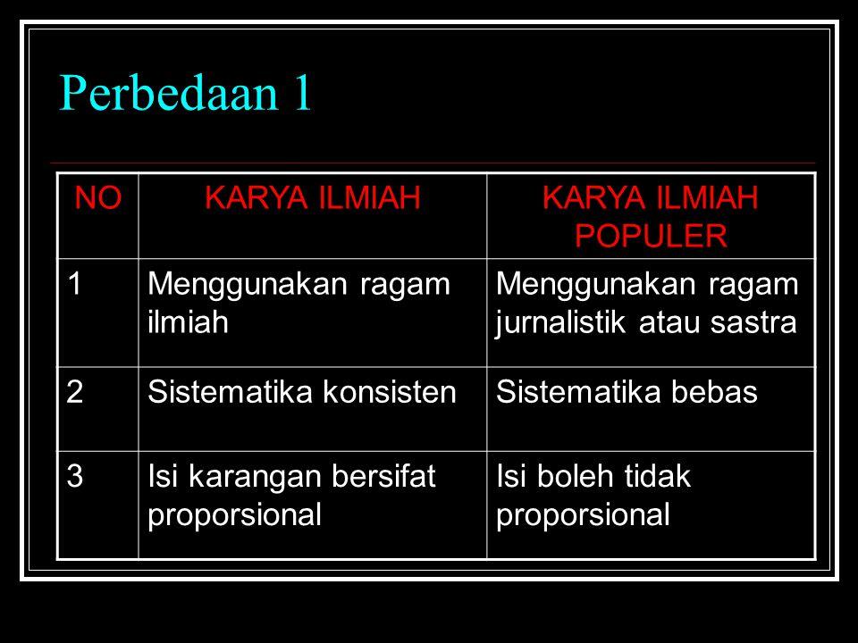 Perbedaan 1 NOKARYA ILMIAHKARYA ILMIAH POPULER 1Menggunakan ragam ilmiah Menggunakan ragam jurnalistik atau sastra 2Sistematika konsistenSistematika b
