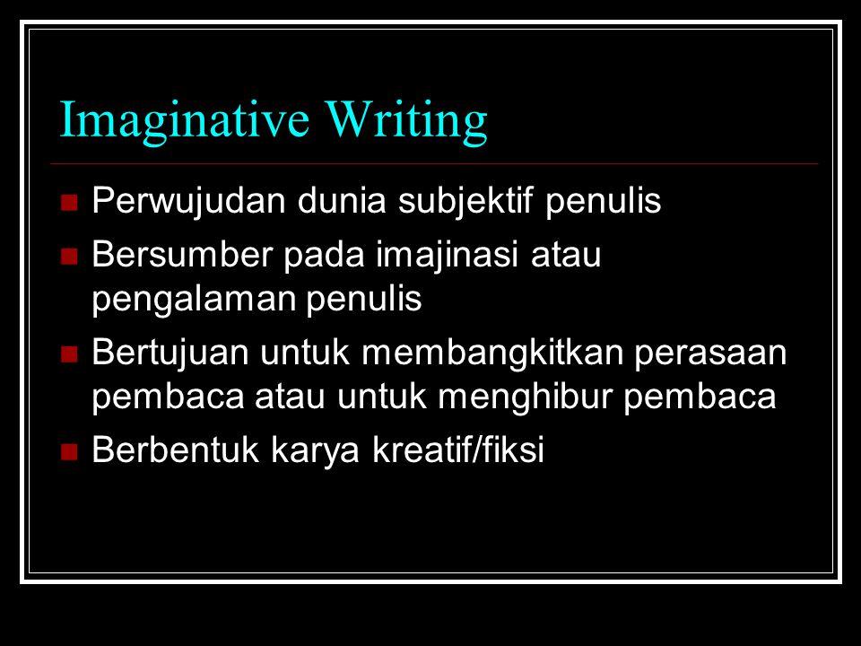 Factual Writing Berisi fakta objektif Bersumber pada pengamatan, pengalaman, atau gagasan penulis Bertujuan untuk memberikan keterangan, penjelasan, atau petunjuk Berbentuk: Scientific/Technology Writing dan Informative Writing