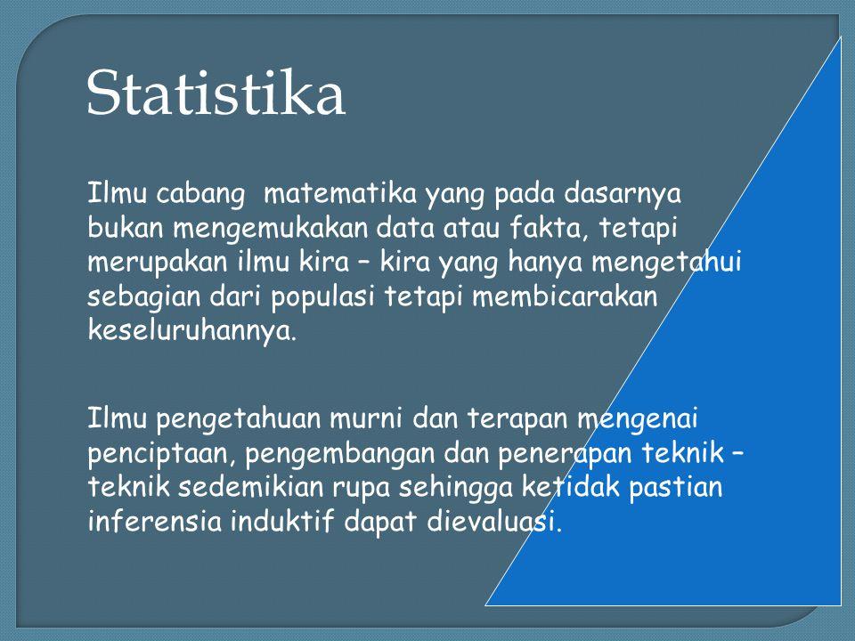 Statistika Ilmu cabang matematika yang pada dasarnya bukan mengemukakan data atau fakta, tetapi merupakan ilmu kira – kira yang hanya mengetahui sebagian dari populasi tetapi membicarakan keseluruhannya.