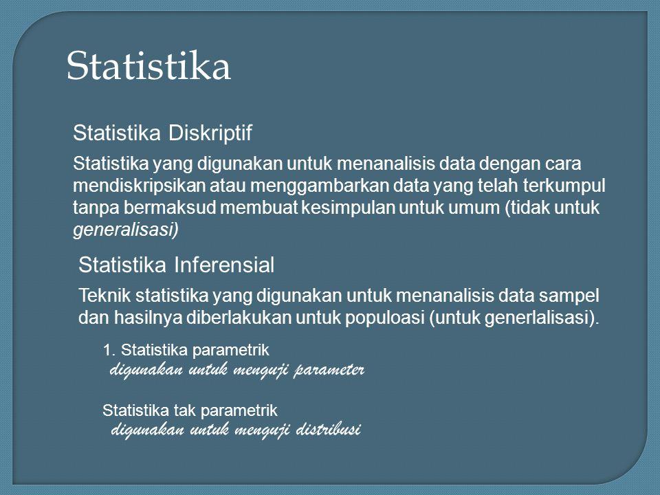 Statistika Statistika Diskriptif Statistika yang digunakan untuk menanalisis data dengan cara mendiskripsikan atau menggambarkan data yang telah terkumpul tanpa bermaksud membuat kesimpulan untuk umum (tidak untuk generalisasi) Statistika Inferensial Teknik statistika yang digunakan untuk menanalisis data sampel dan hasilnya diberlakukan untuk populoasi (untuk generlalisasi).