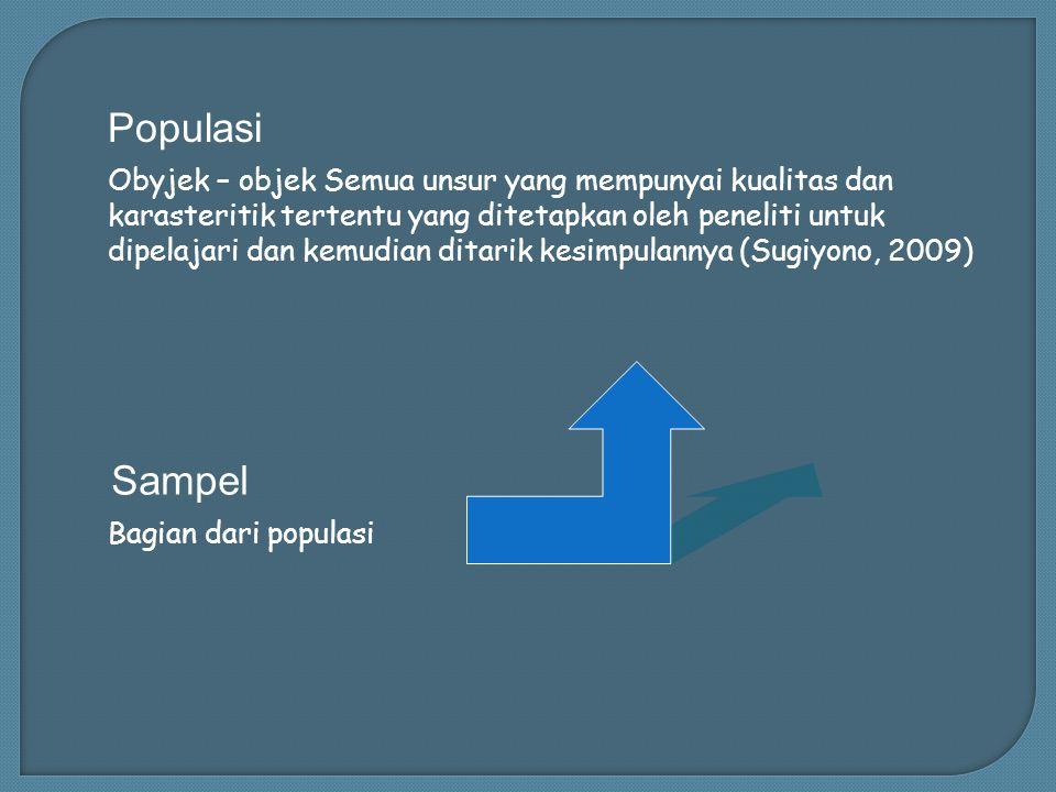 Populasi Sampel Obyjek – objek Semua unsur yang mempunyai kualitas dan karasteritik tertentu yang ditetapkan oleh peneliti untuk dipelajari dan kemudian ditarik kesimpulannya (Sugiyono, 2009) Bagian dari populasi
