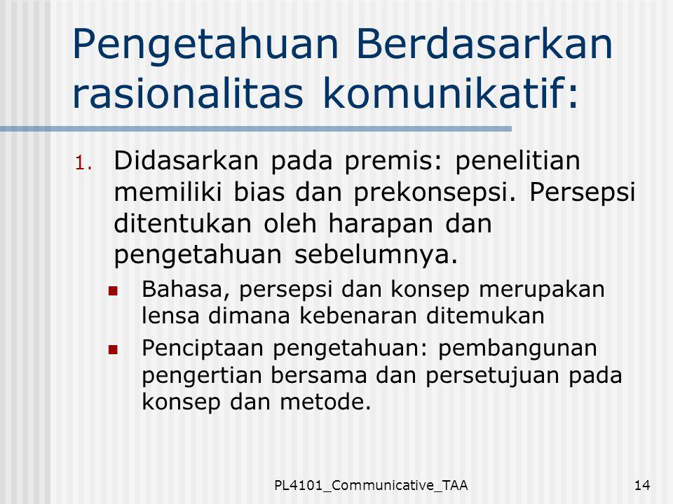 PL4101_Communicative_TAA14 Pengetahuan Berdasarkan rasionalitas komunikatif: 1. Didasarkan pada premis: penelitian memiliki bias dan prekonsepsi. Pers