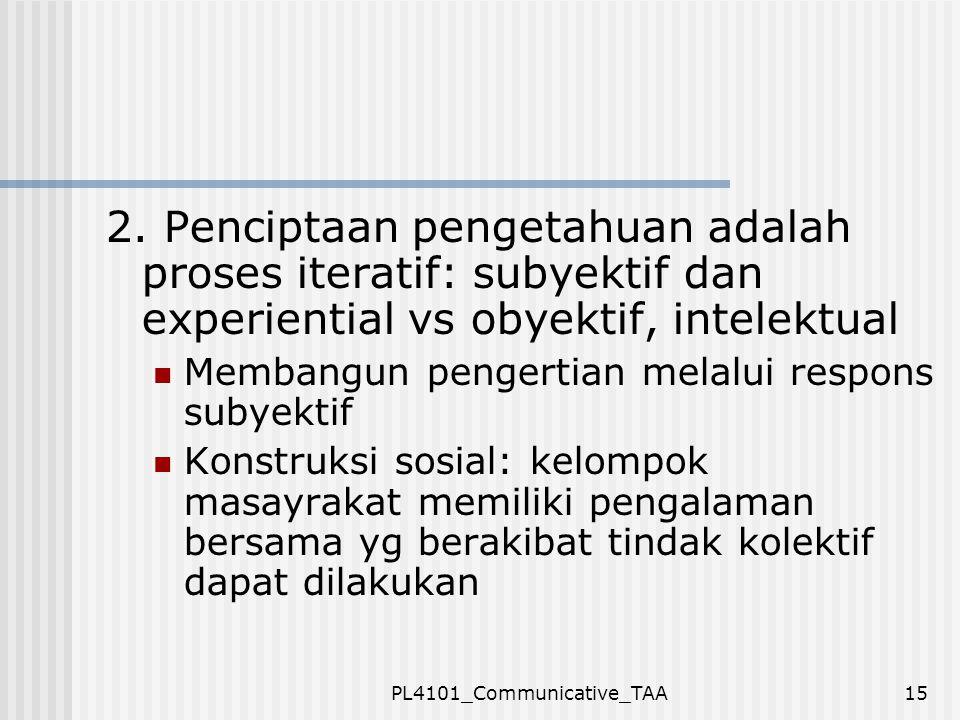 PL4101_Communicative_TAA15 2. Penciptaan pengetahuan adalah proses iteratif: subyektif dan experiential vs obyektif, intelektual Membangun pengertian