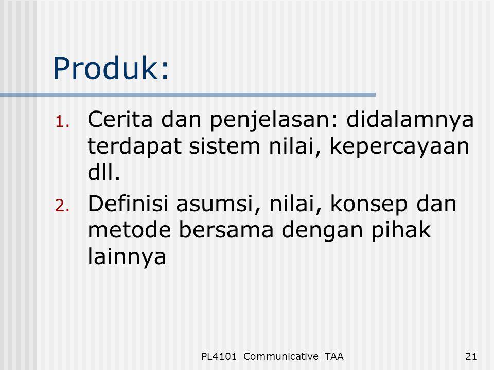 PL4101_Communicative_TAA21 Produk: 1. Cerita dan penjelasan: didalamnya terdapat sistem nilai, kepercayaan dll. 2. Definisi asumsi, nilai, konsep dan