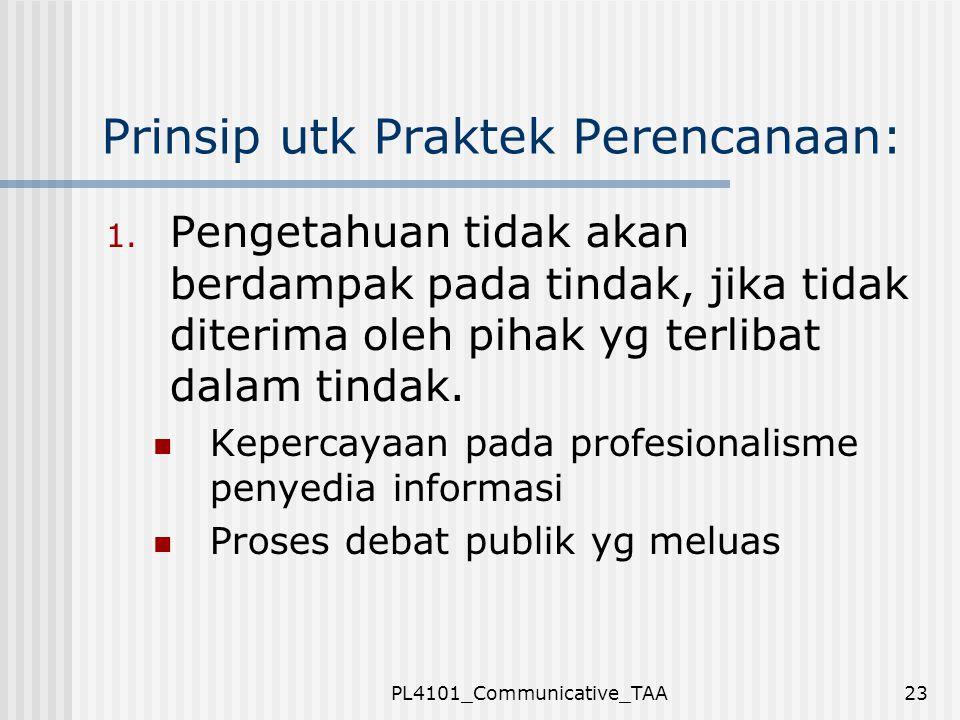 PL4101_Communicative_TAA23 Prinsip utk Praktek Perencanaan: 1. Pengetahuan tidak akan berdampak pada tindak, jika tidak diterima oleh pihak yg terliba