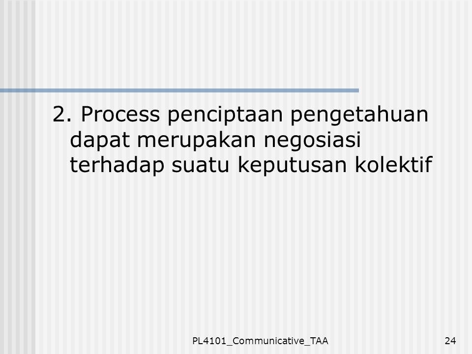 PL4101_Communicative_TAA24 2. Process penciptaan pengetahuan dapat merupakan negosiasi terhadap suatu keputusan kolektif