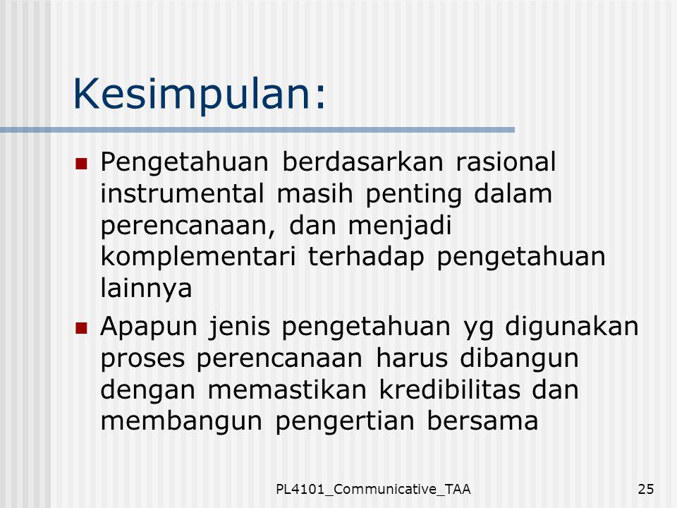 PL4101_Communicative_TAA25 Kesimpulan: Pengetahuan berdasarkan rasional instrumental masih penting dalam perencanaan, dan menjadi komplementari terhad