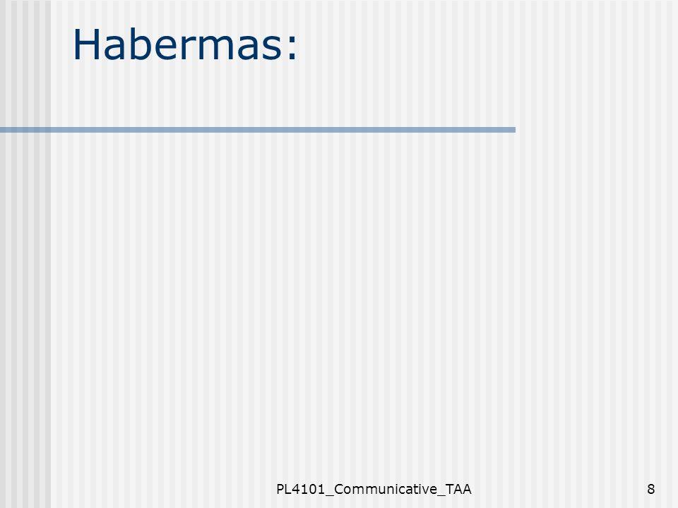 PL4101_Communicative_TAA19 Jenis Pengetahuan Komunikatif: Mengerti persoalan berdasarkan konteks dan term – pelajari dalam bahasa sehari- hari Tujuan: agar dapat membangun logika dari situasi tertentu, bukan utk generalisasi Penelitian: eksploratif (bukan hipotesis atau testing, pengukuran) Pertanyaan penelitian: apa itu.