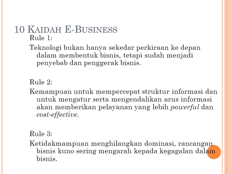 10 K AIDAH E-B USINESS Rule 1: Teknologi bukan hanya sekedar perkiraan ke depan dalam membentuk bisnis, tetapi sudah menjadi penyebab dan penggerak bi