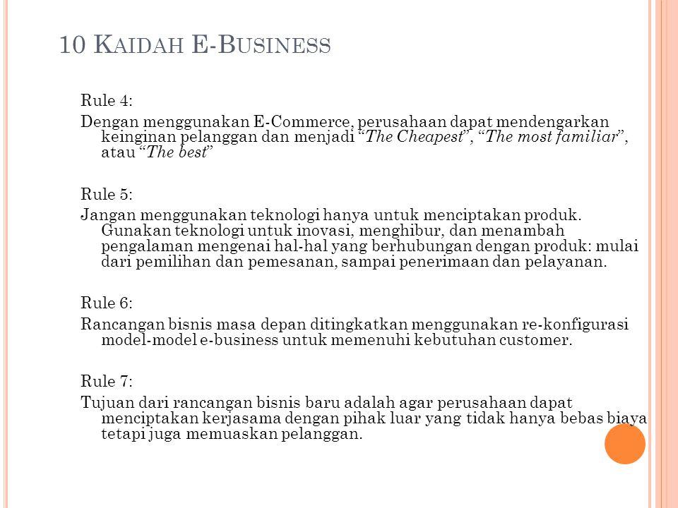 "10 K AIDAH E-B USINESS Rule 4: Dengan menggunakan E-Commerce, perusahaan dapat mendengarkan keinginan pelanggan dan menjadi "" The Cheapest "", "" The mo"