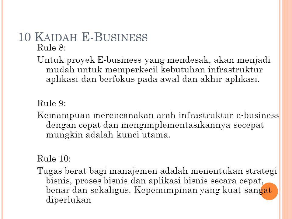 10 K AIDAH E-B USINESS Rule 8: Untuk proyek E-business yang mendesak, akan menjadi mudah untuk memperkecil kebutuhan infrastruktur aplikasi dan berfok