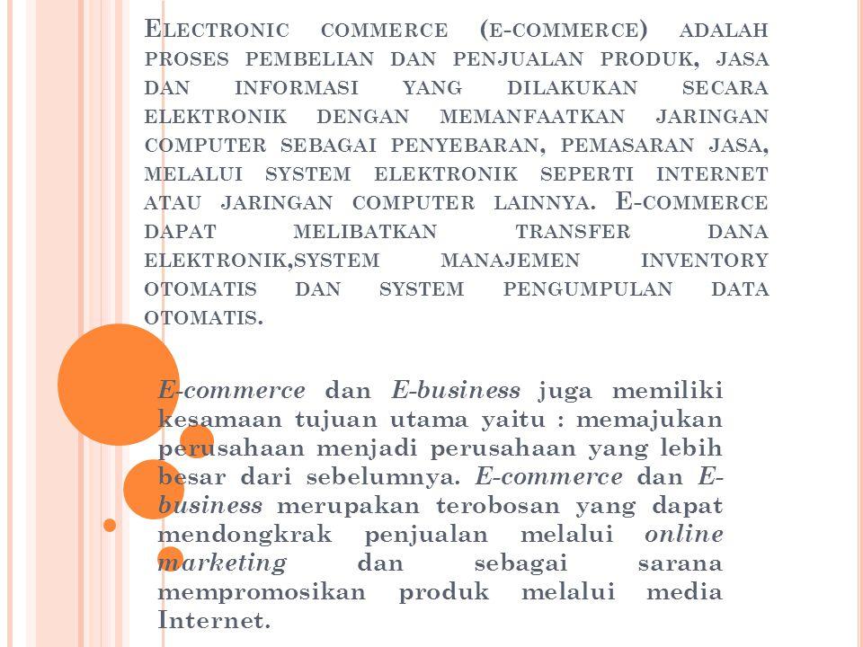 M ODEL E - COMMERCE E – Commerce memiliki 4 model yaitu : 1.Business-to-Business(B2B) merupakan model perusahaan yang menjual barang atau jasa pada perusahaan lain.