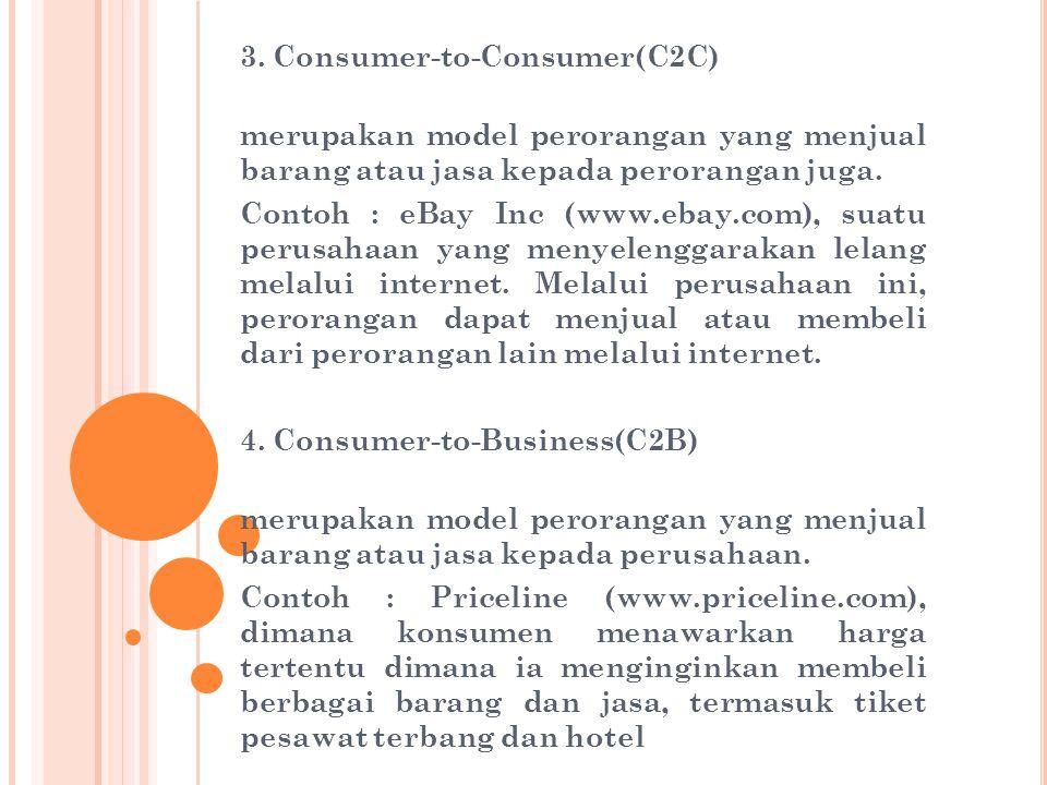 3. Consumer-to-Consumer(C2C) merupakan model perorangan yang menjual barang atau jasa kepada perorangan juga. Contoh : eBay Inc (www.ebay.com), suatu