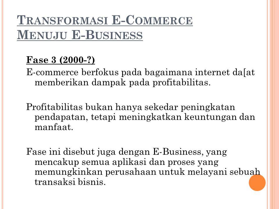 T RANSFORMASI E-C OMMERCE M ENUJU E-B USINESS Fase 3 (2000-?) E-commerce berfokus pada bagaimana internet da[at memberikan dampak pada profitabilitas.