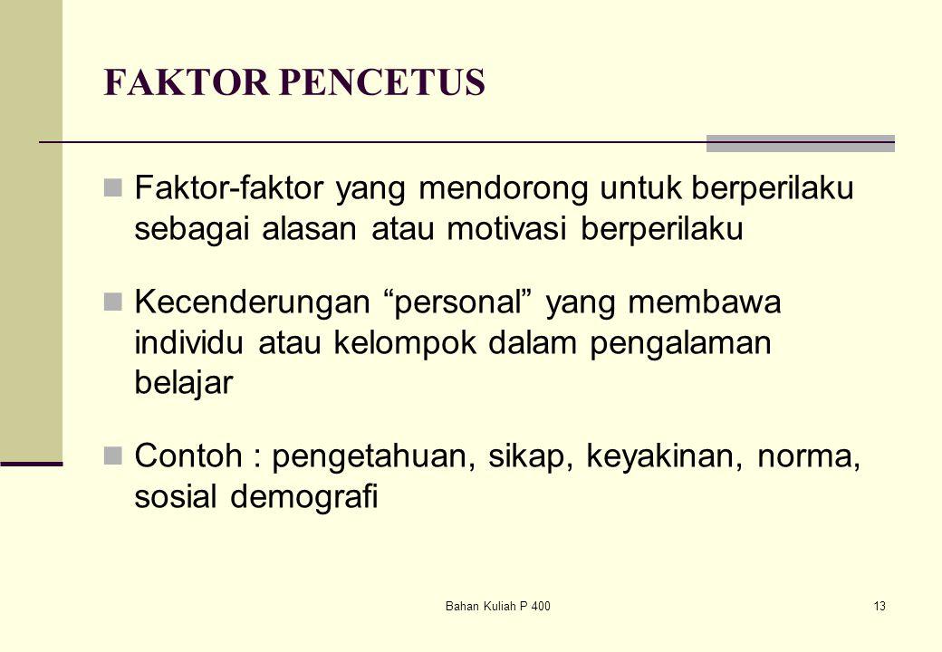 """Bahan Kuliah P 40013 FAKTOR PENCETUS Faktor-faktor yang mendorong untuk berperilaku sebagai alasan atau motivasi berperilaku Kecenderungan """"personal"""""""