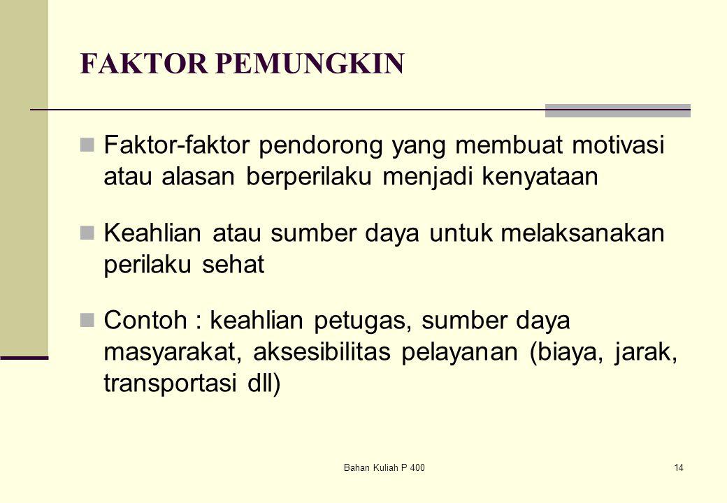 Bahan Kuliah P 40014 FAKTOR PEMUNGKIN Faktor-faktor pendorong yang membuat motivasi atau alasan berperilaku menjadi kenyataan Keahlian atau sumber day