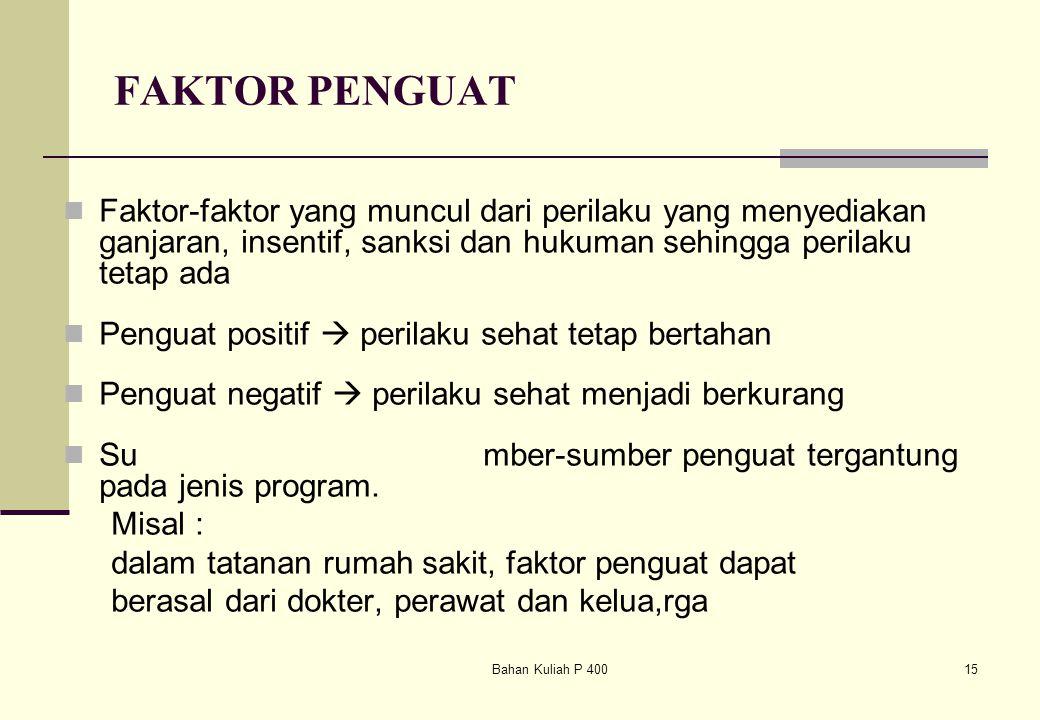 Bahan Kuliah P 40015 FAKTOR PENGUAT Faktor-faktor yang muncul dari perilaku yang menyediakan ganjaran, insentif, sanksi dan hukuman sehingga perilaku
