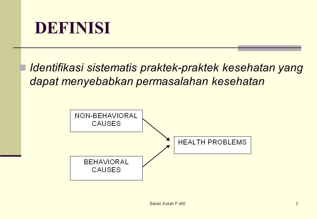 Bahan Kuliah P 4002 DEFINISI Identifikasi sistematis praktek-praktek kesehatan yang dapat menyebabkan permasalahan kesehatan