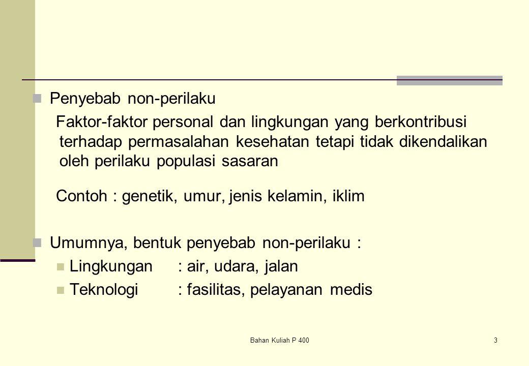 Bahan Kuliah P 4003 Penyebab non-perilaku Faktor-faktor personal dan lingkungan yang berkontribusi terhadap permasalahan kesehatan tetapi tidak dikend