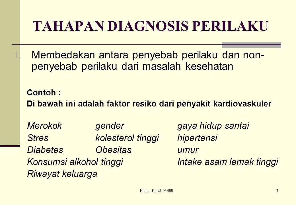 Bahan Kuliah P 4004 TAHAPAN DIAGNOSIS PERILAKU 1. Membedakan antara penyebab perilaku dan non- penyebab perilaku dari masalah kesehatan Contoh : Di ba
