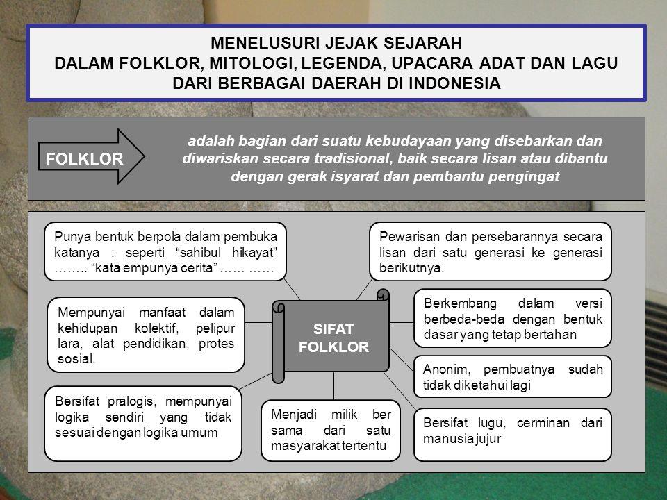 MENELUSURI JEJAK SEJARAH DALAM FOLKLOR, MITOLOGI, LEGENDA, UPACARA ADAT DAN LAGU DARI BERBAGAI DAERAH DI INDONESIA FOLKLOR adalah bagian dari suatu ke