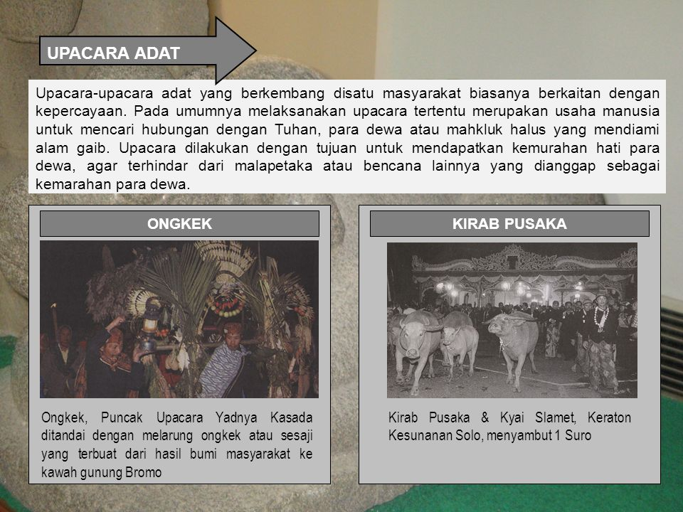 Upacara-upacara adat yang berkembang disatu masyarakat biasanya berkaitan dengan kepercayaan.
