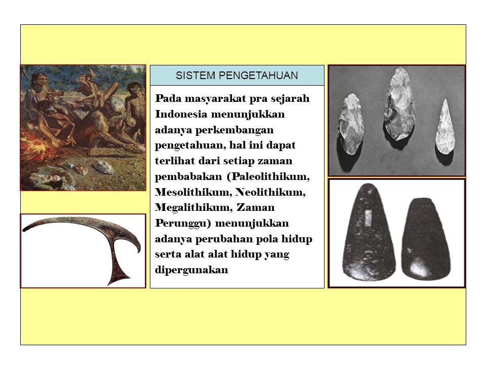 Pada masyarakat pra sejarah Indonesia menunjukkan adanya perkembangan pengetahuan, hal ini dapat terlihat dari setiap zaman pembabakan (Paleolithikum,