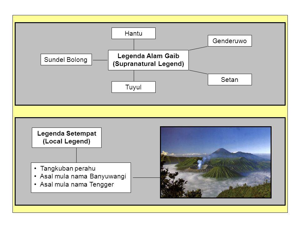 Legenda Alam Gaib (Supranatural Legend) Sundel Bolong Hantu Genderuwo Setan Tuyul Legenda Setempat (Local Legend) Tangkuban perahu Asal mula nama Bany