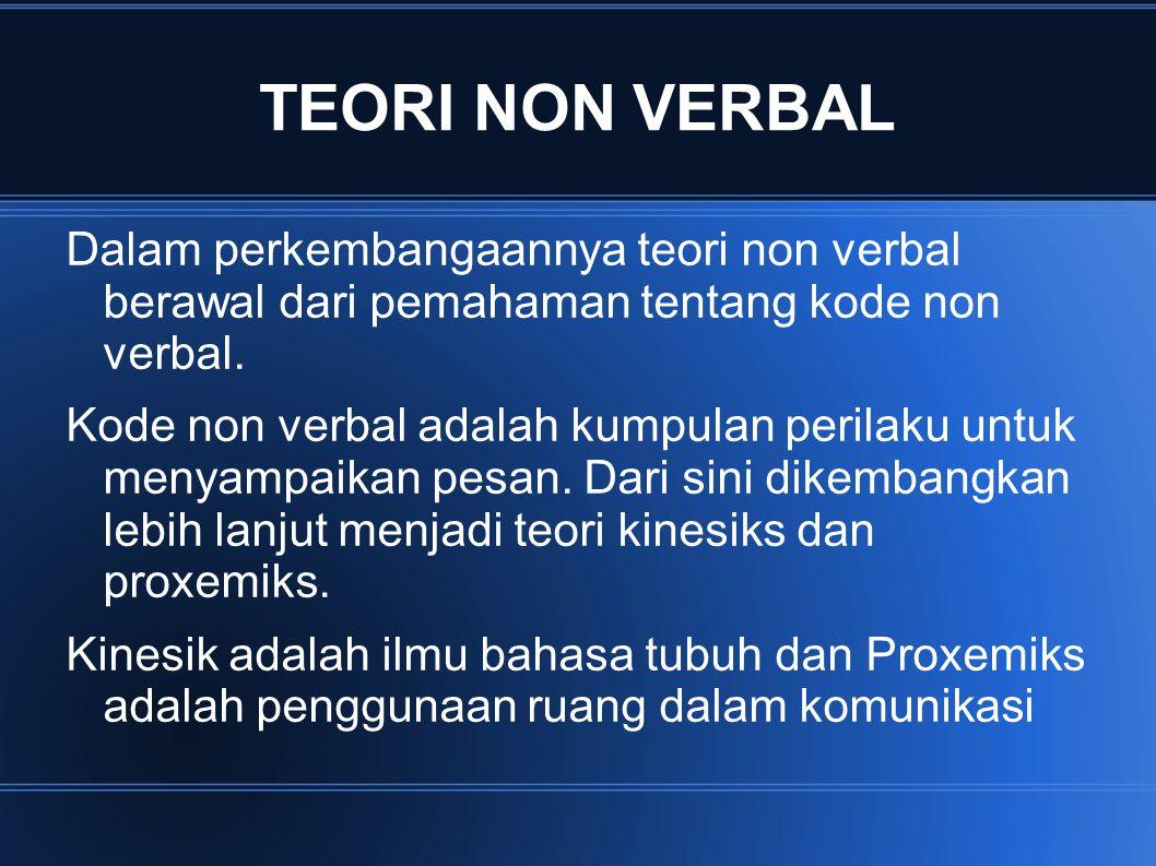 TEORI NON VERBAL Dalam perkembangaannya teori non verbal berawal dari pemahaman tentang kode non verbal. Kode non verbal adalah kumpulan perilaku untu