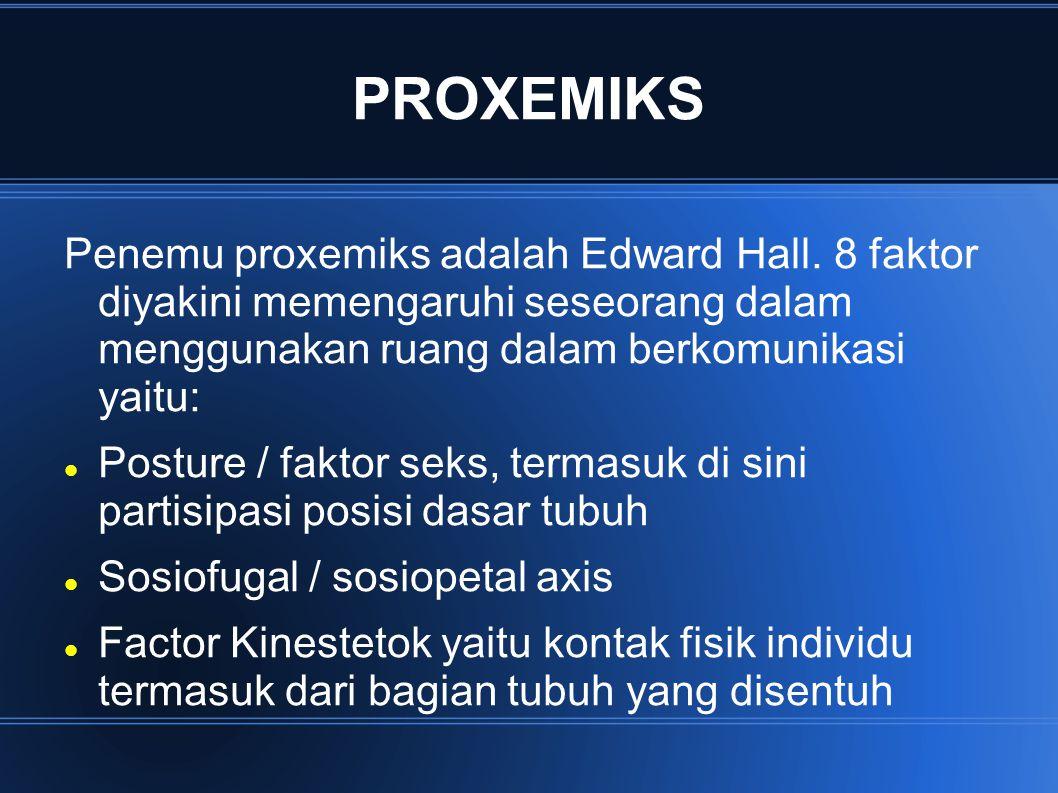 PROXEMIKS Penemu proxemiks adalah Edward Hall. 8 faktor diyakini memengaruhi seseorang dalam menggunakan ruang dalam berkomunikasi yaitu: Posture / fa