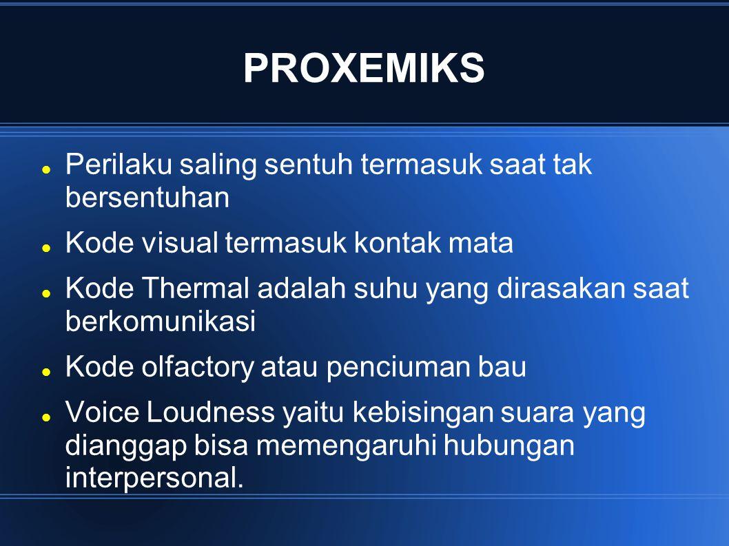 PROXEMIKS Perilaku saling sentuh termasuk saat tak bersentuhan Kode visual termasuk kontak mata Kode Thermal adalah suhu yang dirasakan saat berkomuni