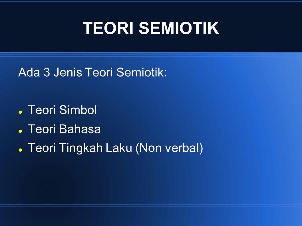 TEORI SEMIOTIK Ada 3 Jenis Teori Semiotik: Teori Simbol Teori Bahasa Teori Tingkah Laku (Non verbal)