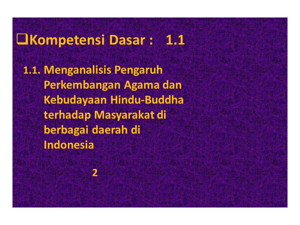  Kompetensi Dasar :1.1 1.1. Menganalisis Pengaruh Perkembangan Agama dan Kebudayaan Hindu-Buddha terhadap Masyarakat di berbagai daerah di Indonesia