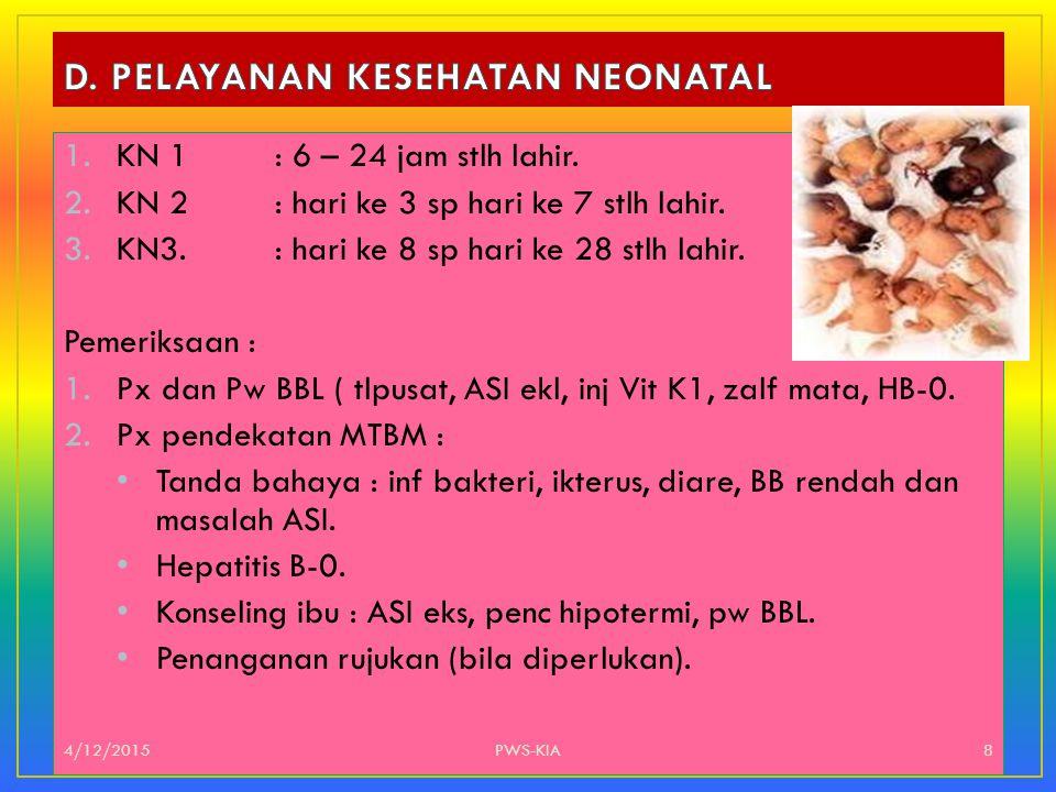 1.KN 1: 6 – 24 jam stlh lahir. 2.KN 2: hari ke 3 sp hari ke 7 stlh lahir. 3.KN3. : hari ke 8 sp hari ke 28 stlh lahir. Pemeriksaan : 1.Px dan Pw BBL (