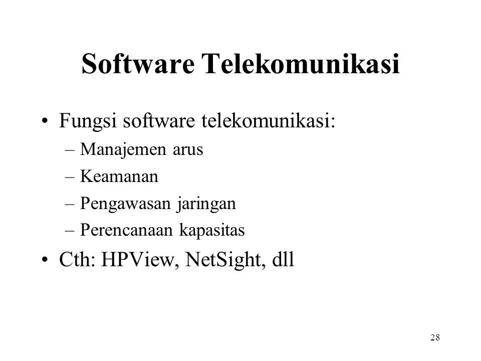 28 Software Telekomunikasi Fungsi software telekomunikasi: –Manajemen arus –Keamanan –Pengawasan jaringan –Perencanaan kapasitas Cth: HPView, NetSight