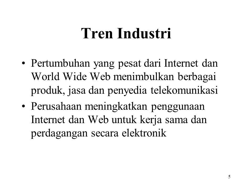 5 Tren Industri Pertumbuhan yang pesat dari Internet dan World Wide Web menimbulkan berbagai produk, jasa dan penyedia telekomunikasi Perusahaan menin