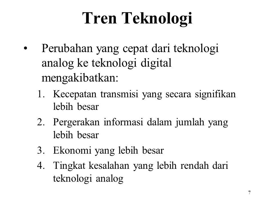 7 Tren Teknologi Perubahan yang cepat dari teknologi analog ke teknologi digital mengakibatkan: 1.Kecepatan transmisi yang secara signifikan lebih bes