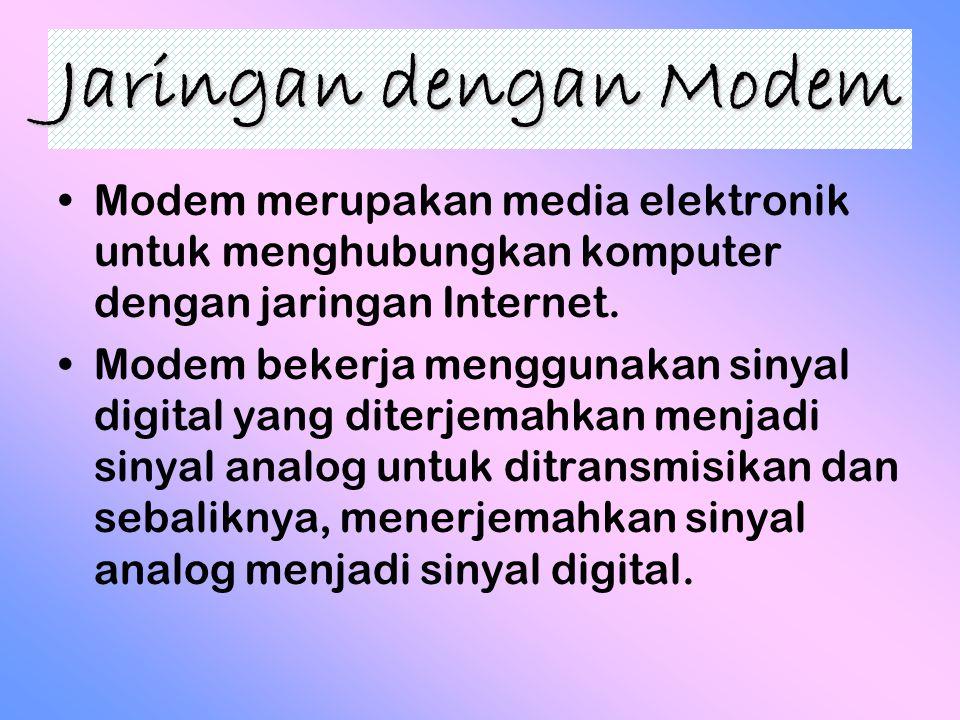 Jaringan dengan Modem Modem merupakan media elektronik untuk menghubungkan komputer dengan jaringan Internet. Modem bekerja menggunakan sinyal digital