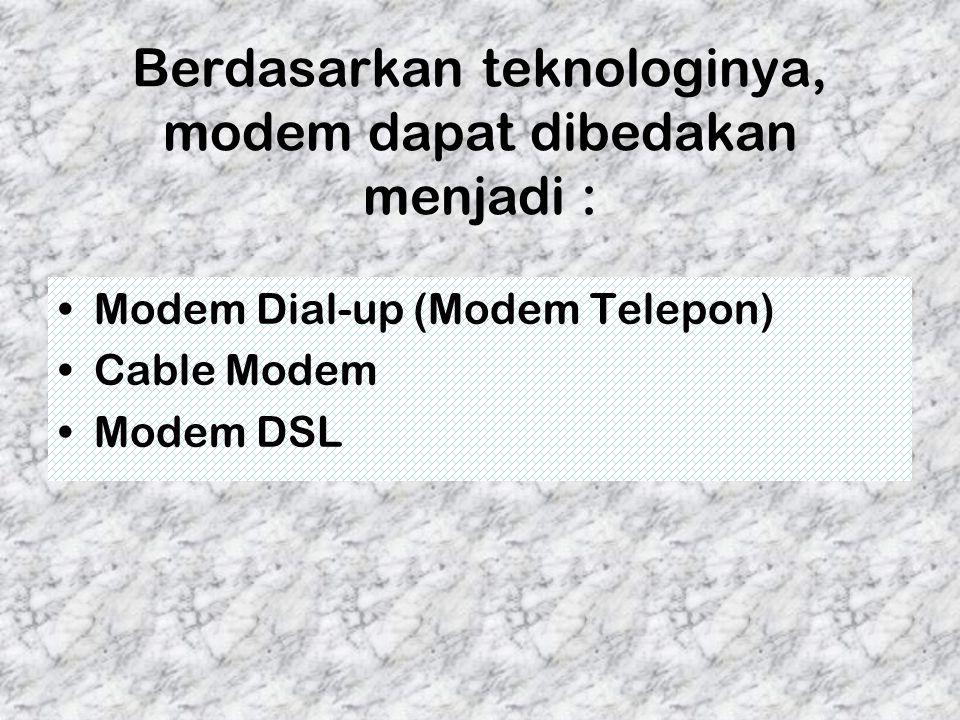 Berdasarkan teknologinya, modem dapat dibedakan menjadi : Modem Dial-up (Modem Telepon) Cable Modem Modem DSL