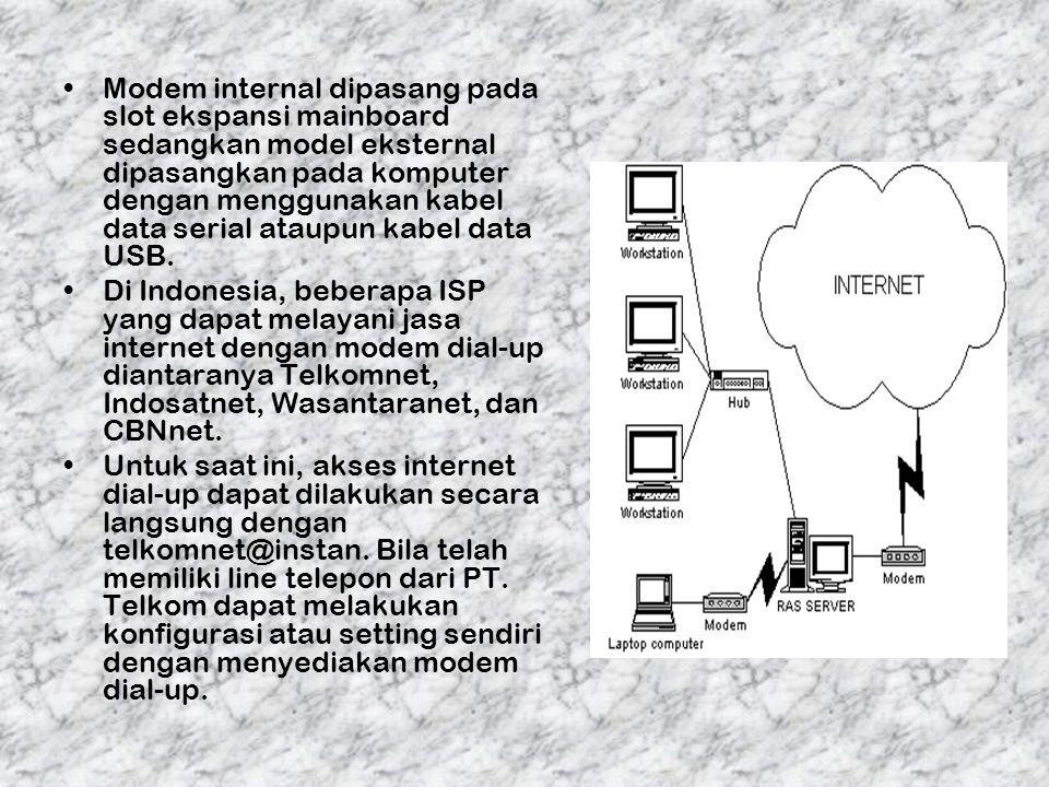 Modem internal dipasang pada slot ekspansi mainboard sedangkan model eksternal dipasangkan pada komputer dengan menggunakan kabel data serial ataupun