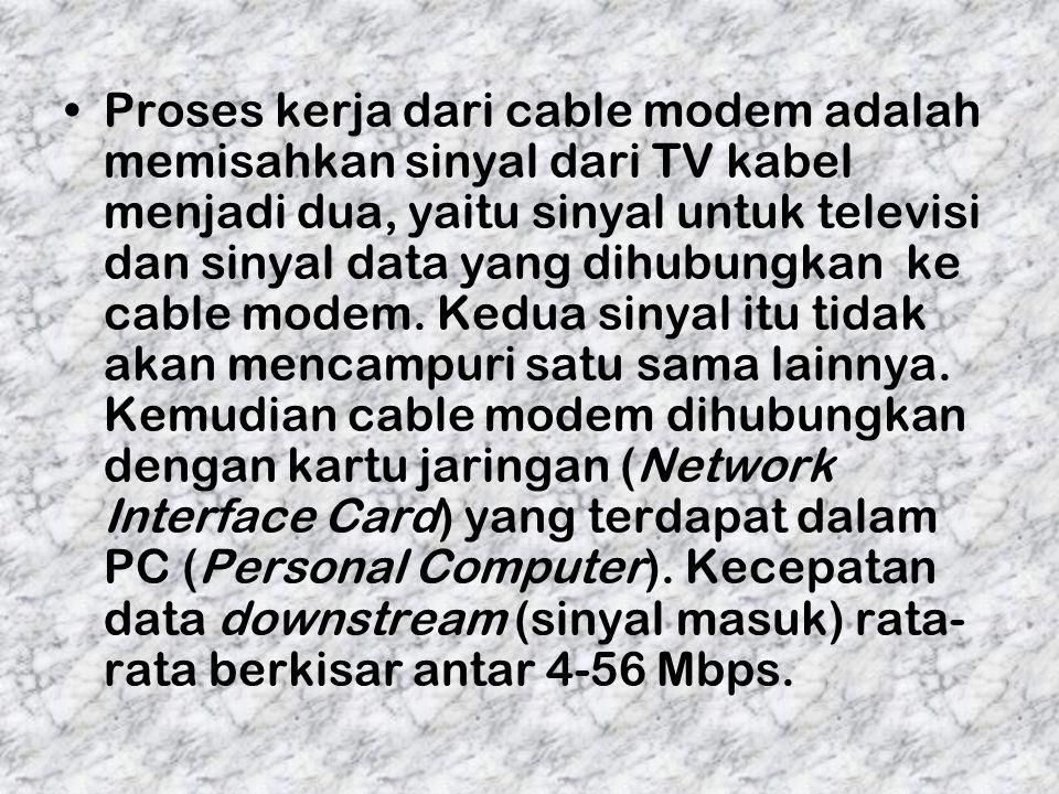Proses kerja dari cable modem adalah memisahkan sinyal dari TV kabel menjadi dua, yaitu sinyal untuk televisi dan sinyal data yang dihubungkan ke cabl